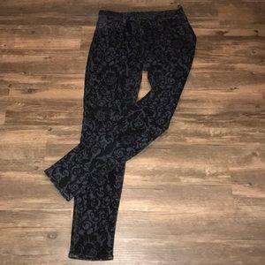 J BRAND Black Velvet Brocade SKINNY LEG JEANS~28~